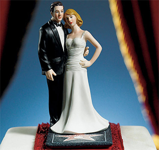 Custom Hollywood Glamour Bride and Groom Cake Top Figurines