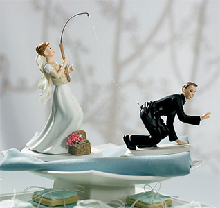 Custom Bride Gone Fishing Groom Wedding Caketo Figurines
