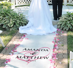 Personalized Custom Embracing Hearts Wedding Aisle Runner