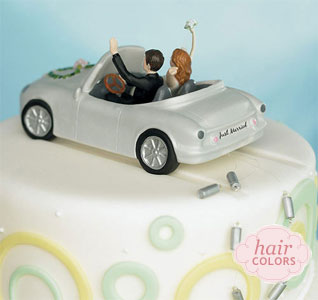 Just Married Wedding Car Cake Topper Bride and Groom Figurines