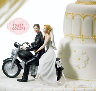 Motorcycle Get-Away Couple Wedding Cake Topper Figurines