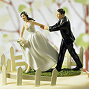A Race to the Altar Custon Bride and Groom Wedding Cake Top Figurines
