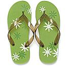 Daisy Just Married Grwwn and Brown Bride Flip Flops for Honeymoon