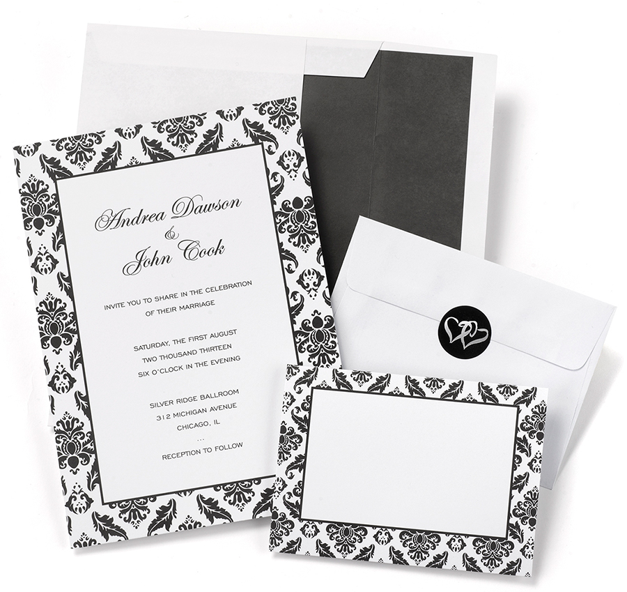 damask border wedding invitation kits diy wedding invitation kits