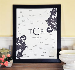 Damask Monogram Wedding Guest Canvas Signature Frame