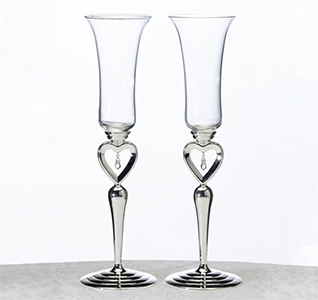 Dangling Jewel Wedding Flutes Toasting Glasses Set