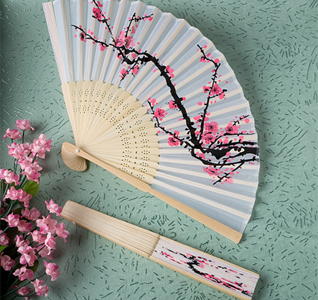 Cherry Blossom Silk Wedding Fans