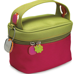 Designer Green and Pink Cosmetic Bag in Twill Polyester