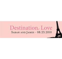 Paris Destination Love - Eiffel Tower Personalized Wedding Favor Cards in Pink and Black