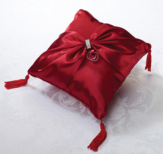 Diamond Red Wedding Ring Pillow