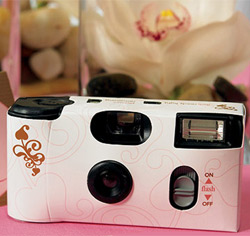 Disposable Wedding Camera Favors in Pink and Brown
