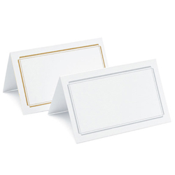 Double Border Place Cards in White with Gold or Silver Boarder