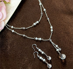 Pearl and Crystal Double Drop Wedding Jewelry Set Necklace and Earrings