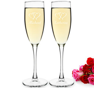 Personalized Double Heart Wedding Champagne Toasting Flute Glasses