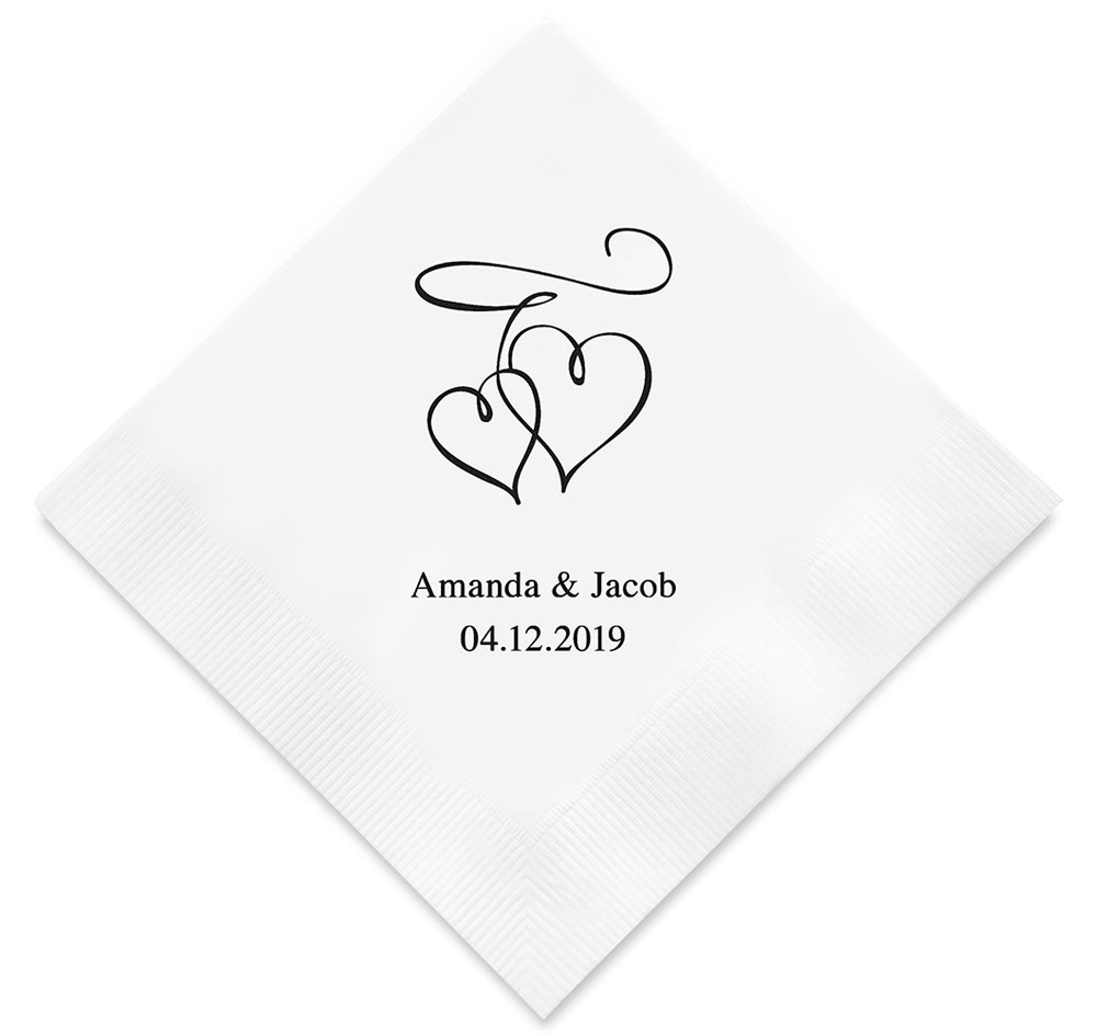 Double Hearts Personalized Wedding Napkins | Printed Napkins