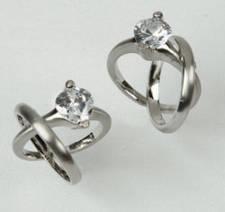 Silver Double Rings Engagement Ring and Wedding Ring Charms for Favors