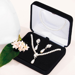 Double White Pearls with Pearl Drop Jewelry Set Necklace and Earrings