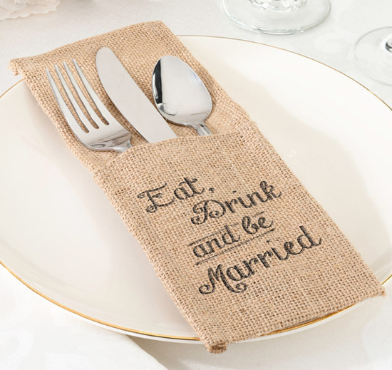 Eat Drink and Be Married Burlap Silverware Holders & Place Mats | Wedding placemats