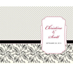 Eclectic Patterns Personalized Black White and Ivory Wedding Bulletin