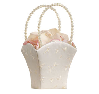Elegance Flower Girl Basket in Ivory