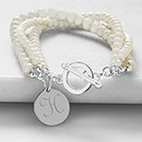 Personalized Initial Elegant Moments Pearl Bracelet Gift