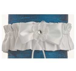 Elizabeth Black Wedding Bridal Garter with White and Silver Ribbon and Crystal/ Rhinestone