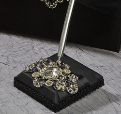 Elizabeth Black Wedding Guest Book and Pen Holder Set with Black and Gold Ribbon and Beads