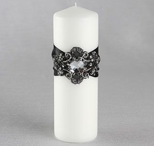 Elizabeth White Wedding Pillar Unity Candle with Black and Gold Ribbon and Beads