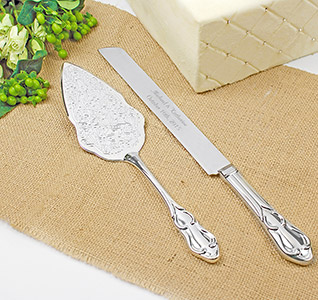 Personalized Embossed Wedding Cake Knife and Server Set