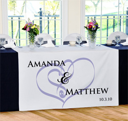 Personalized Embracing Hearts Wedding Table Runner