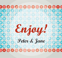 Enjoy! Blue and Red Personalized Wedding Favor/Placecards