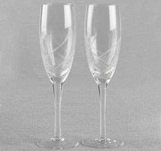 Bedazzled Toasting Flutes Etched Design Wedding