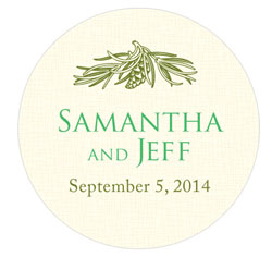 Ivory Evergreen Small Personalized Wedding Favor Stickers