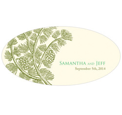 Evergreen Personalized Wedding Window Cling in Ivory and Green