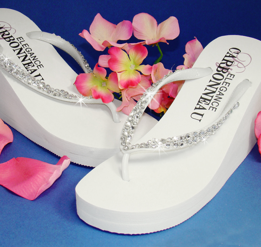 b4579a5adad9 Crystals High Wedge Bridal Flip Flops - White. More Images