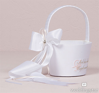 Fairy Tale Dreams White Bridal Wedding Flower Girl Basket