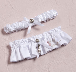 Fairy Tale Dreams White Bridal Wedding Garter and Tossing Garter Set