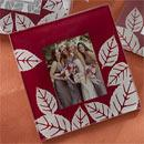 Fall Impressions Maroon and White Fall/Autumn Glass Photo Coasters Wedding Favors