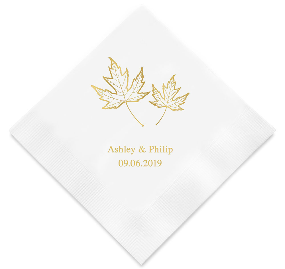 Fall Leaf Personalized Napkins | Fall Wedding Napkins