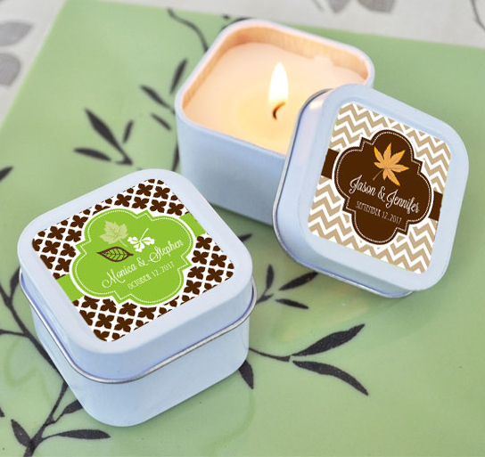 Fall For Love Candle Tin Wedding Favors Wedding Candle Favors