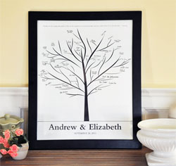 Family Tree Wedding Guest Canvas Signature Frame
