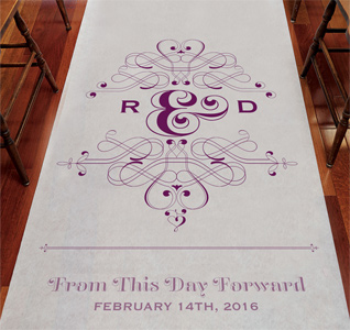Fanciful Monogram Wedding Aisle Runner