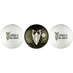 Father of the Bride Wedding Party Gift Golf Balls Black and White