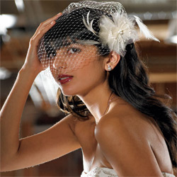 Feather & Chiffon Floral Bridal Hair Accessory for Wedding Vail