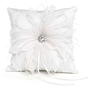 feathered flair ring bearer pillow - Wedding Ring Pillow