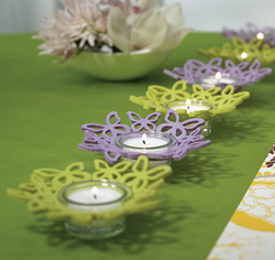 Felt Butterfly Ring Candle Holder in Green and Purple