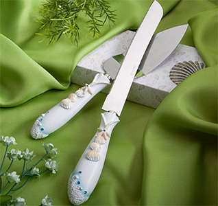 Beach Themed Cake Knife And Server Set