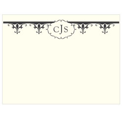 Fleur De Lis Personalized Wedding Note Card in Charcoal