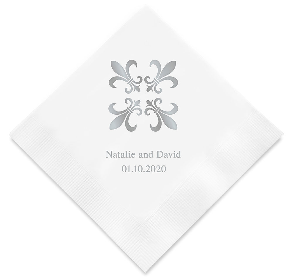 Fleur De Lis Personalized Wedding Napkins | Personalized Napkins