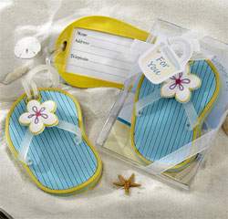 Yellow and Blue Flip-Flop Destination Resort Honeymoon Luggage Tag Favors